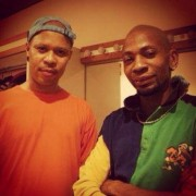 Chilling backstage before our concert at Amiens Jazz Festival (France) with M-Base founder/saxophonist Steve Coleman.