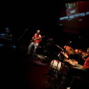Performing at Prishtina Jazz Festival (Kosovo) with Jozef Doumoulin (Fender rhodes) & Stéphane Galland (drums).